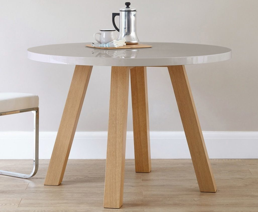 Arc 4 Seater Grey Gloss and Oak Dining Table