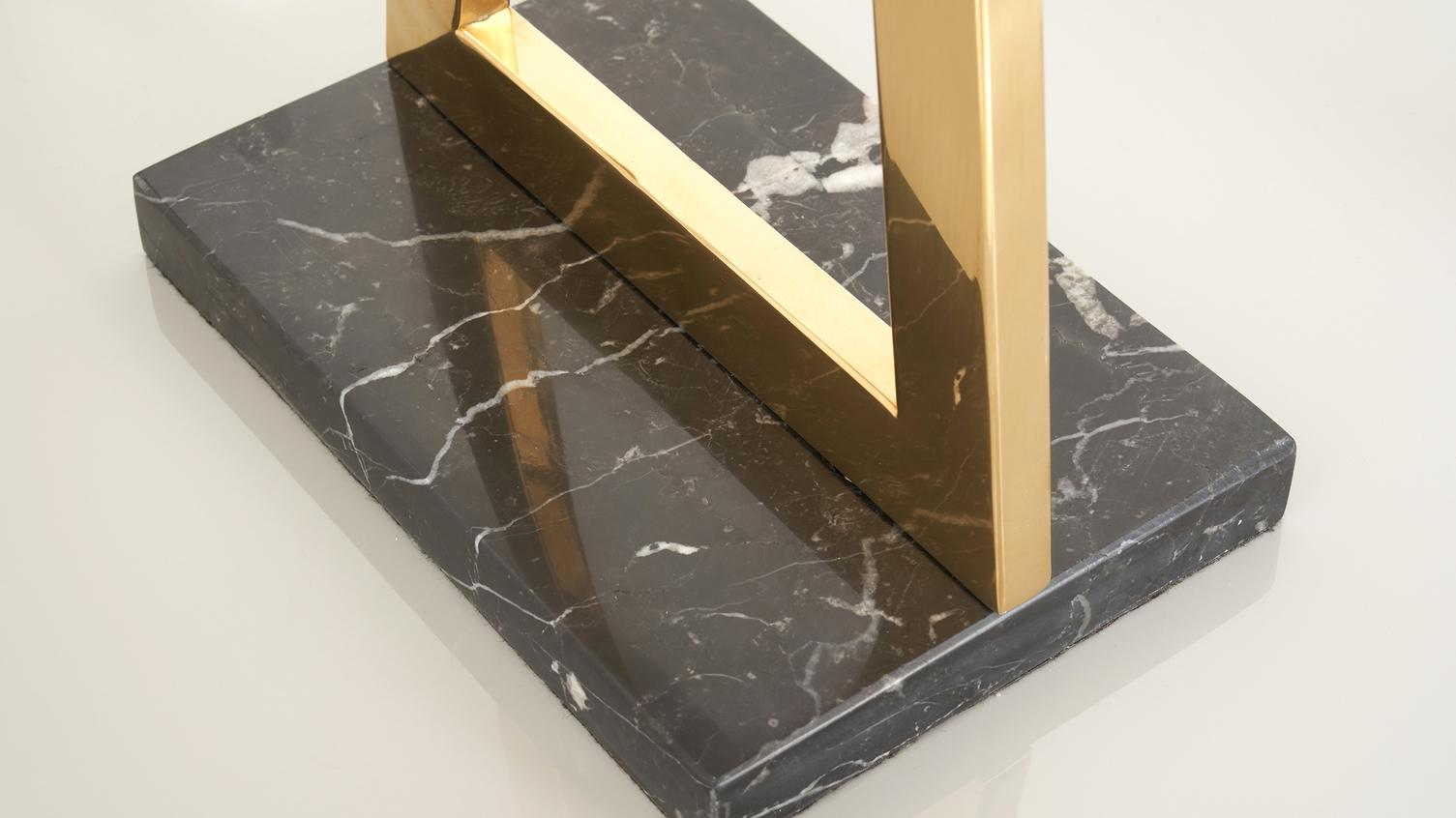 Casa Black Marble and Brass Table Lamp