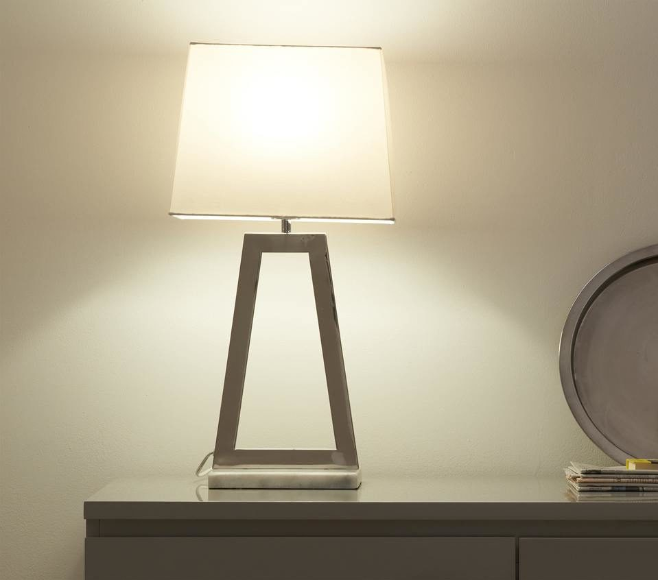 Casa White Marble and Chrome Table Lamp