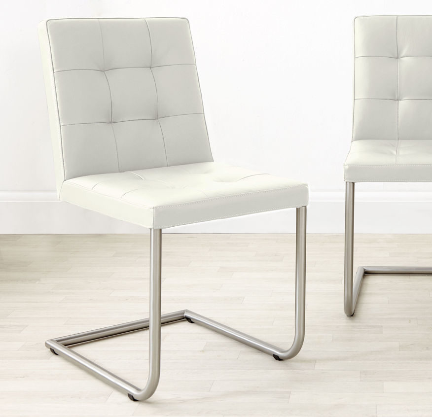 Danni Real Leather Dining Chair in White