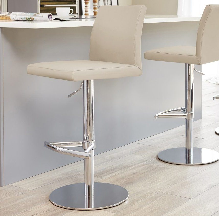 Elise Chrome Gas Lift Bar Stool in Latte Beige
