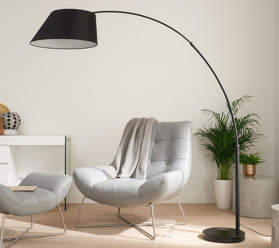 Evey Black Marble Arc Floor Lamp