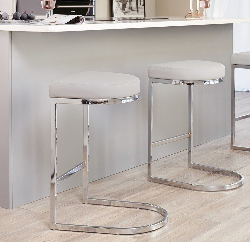 Form Chrome Bar Stool in Cool Grey