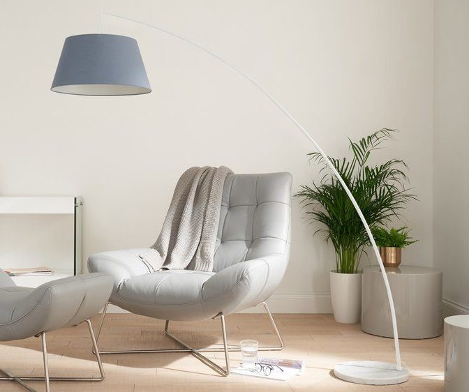 Rey White Marble Arc Floor Lamp