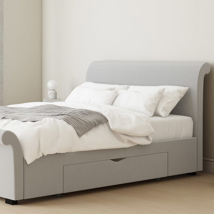 Myla Feather Grey Velvet King Size Bed with Drawers