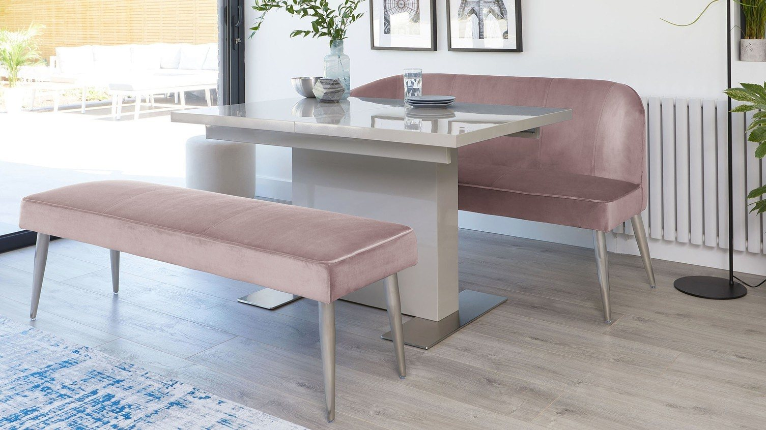 Sanza Grey Gloss and Mellow Blush Velvet Bench Dining Set