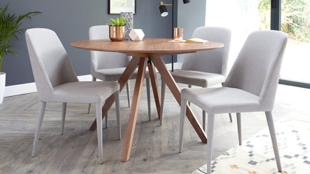 Alessio Walnut and Iris Fabric 4 Seater Dining Set