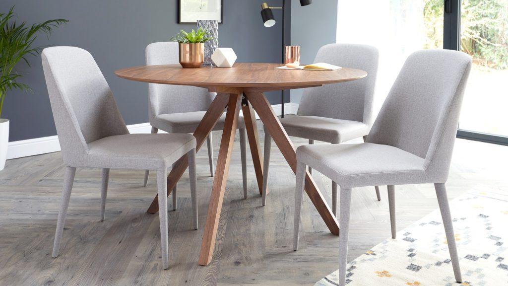 Alessio Walnut and Iris Fabric 4 Seater Dining Set