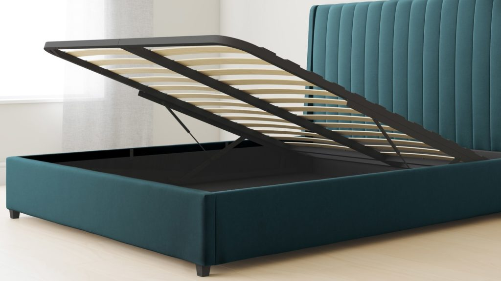 Amalfi Peacock Velvet Double Bed with Storage