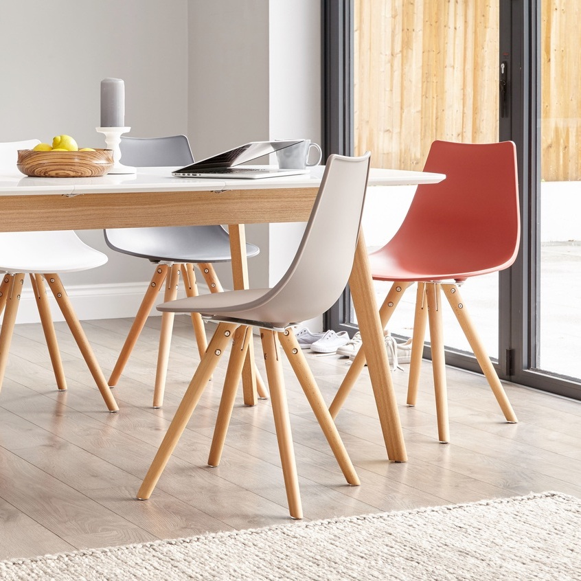 Aver Oak and White Extending and Finn Dining Set