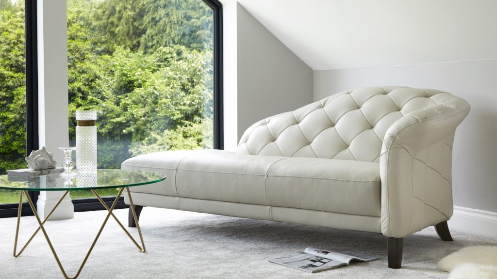 Luxe Modern Leather Chaise Lounge Right Handing