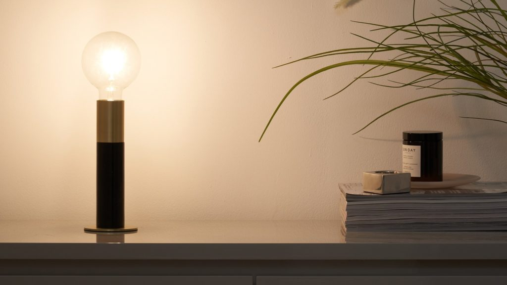 Teo Black Marble and Brass Table Lamp