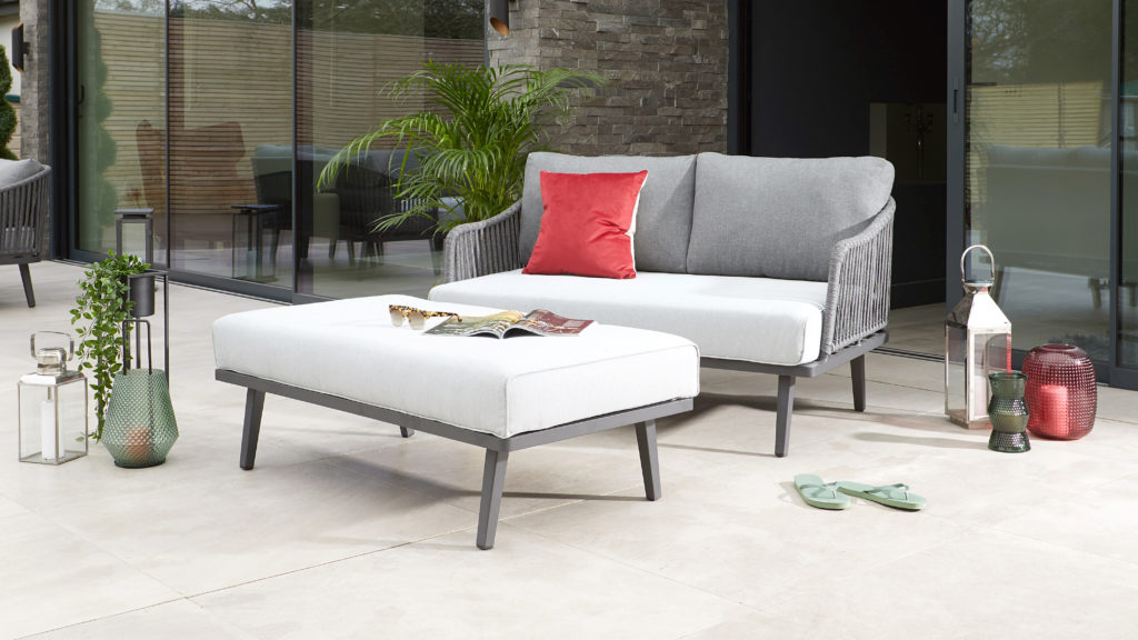 Willow 2 Seater Garden Sofa and Foot Rest