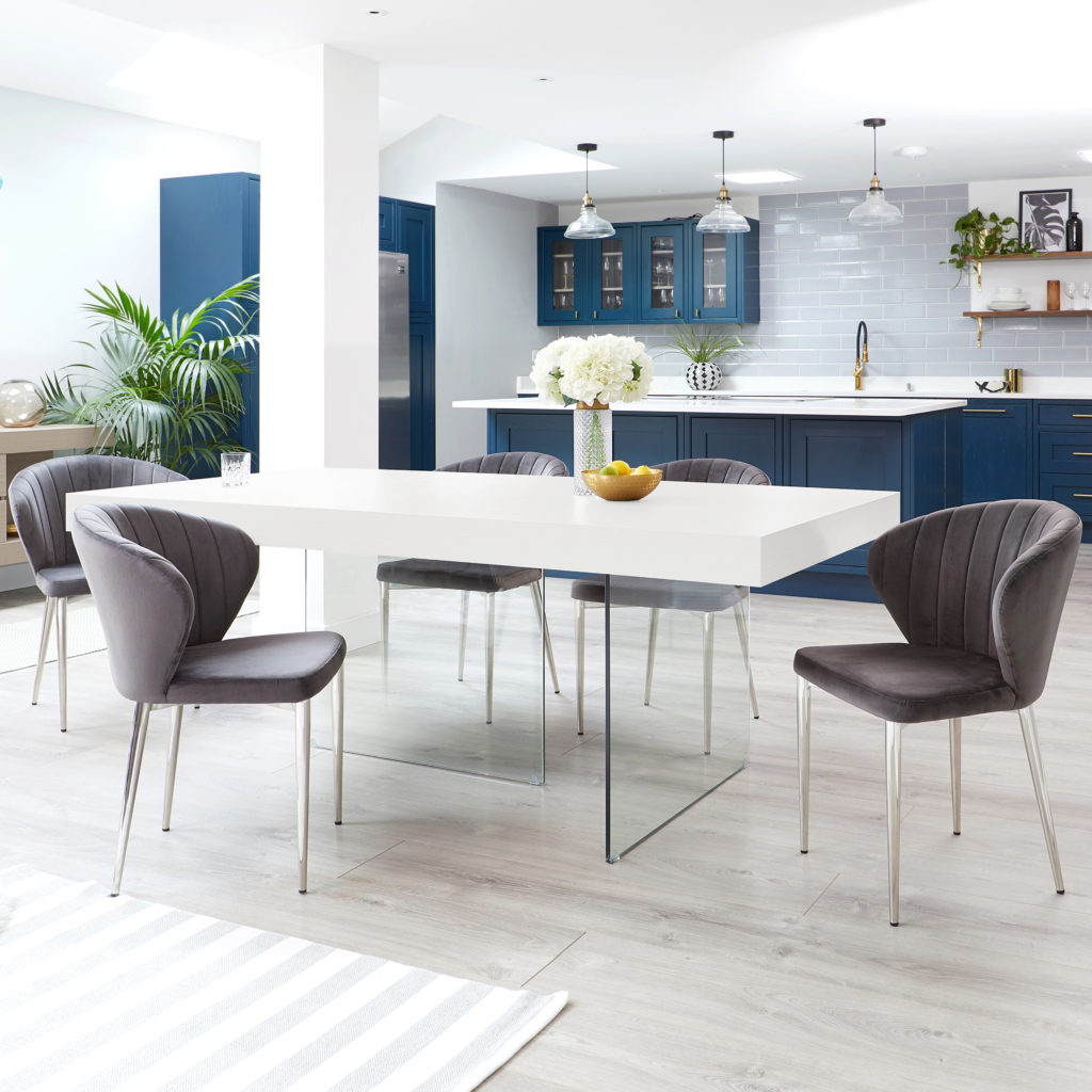 Classic Blue Open Plan Kitchen
