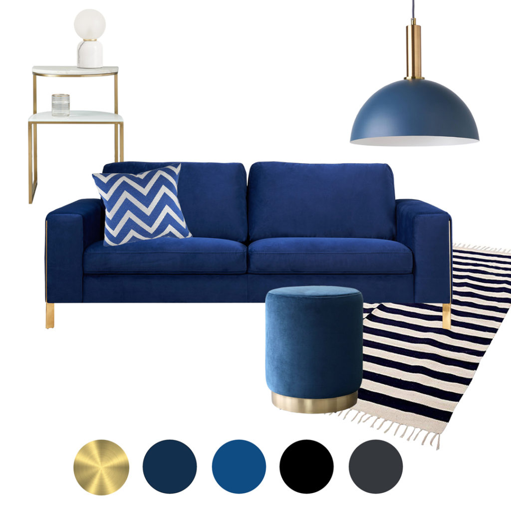 Classic Blue Velvet Sofa Moodboard interior ideas