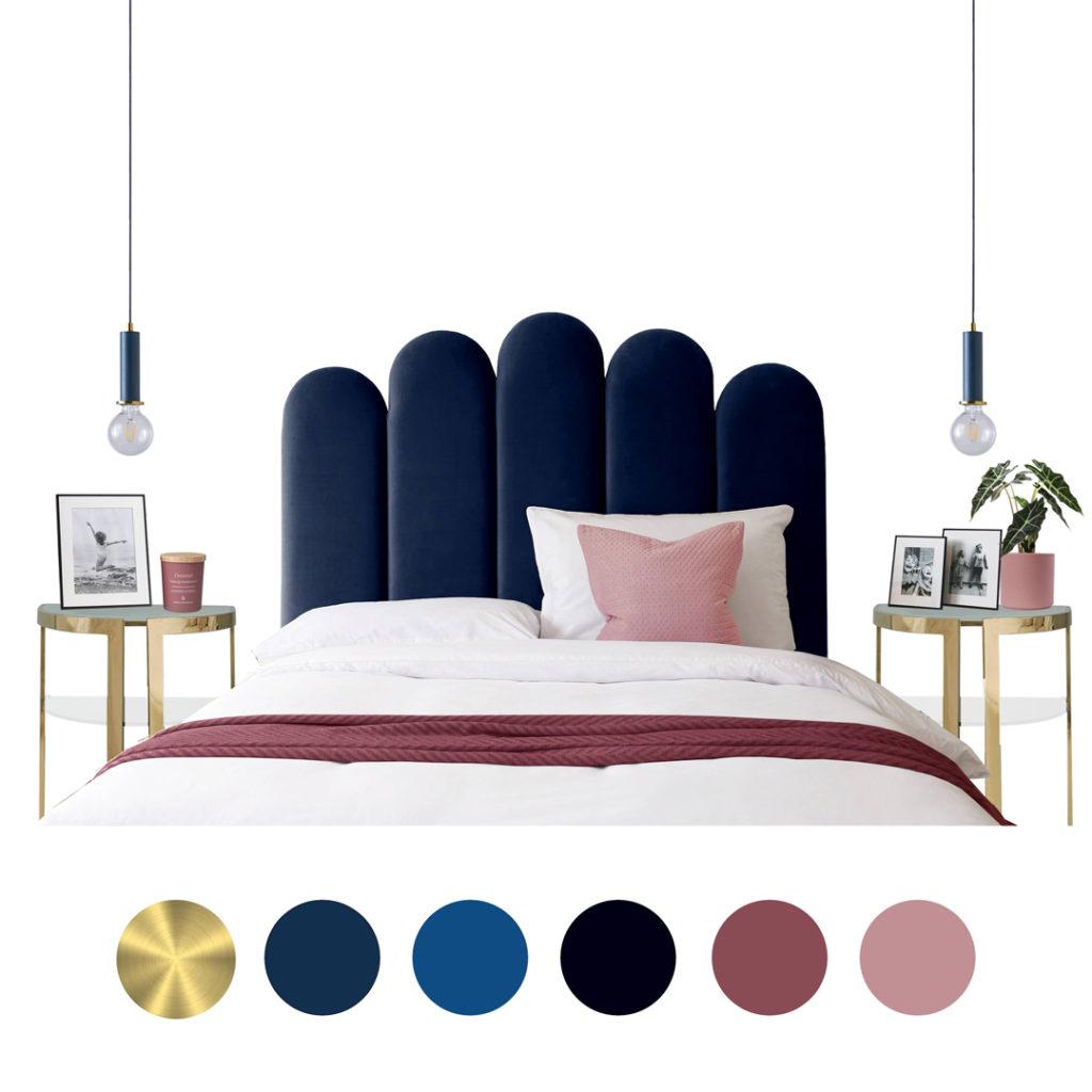 Classic Blue Velvet Art Deco Style Bed