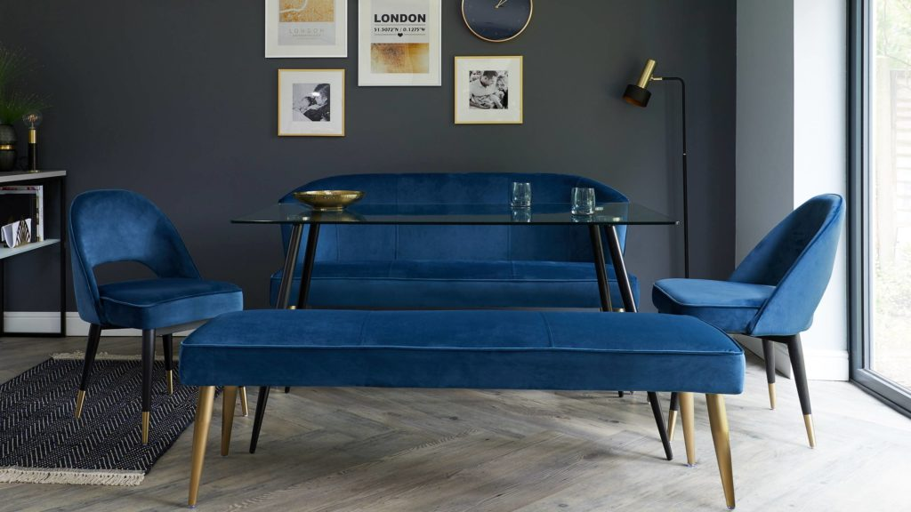 Classic Blue Dining Set in Dark Blue Velvet